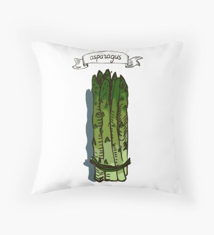 watercolor hand drawn vintage illustration of asparagus Throw Pillow