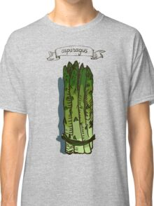 watercolor hand drawn vintage illustration of asparagus Classic T-Shirt