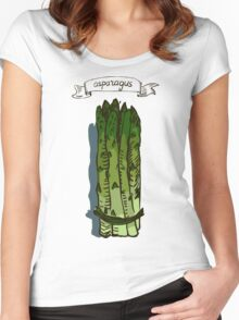 watercolor hand drawn vintage illustration of asparagus Women's Fitted Scoop T-Shirt