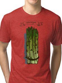 watercolor hand drawn vintage illustration of asparagus Tri-blend T-Shirt