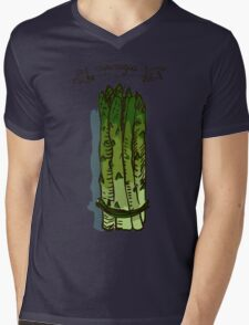 watercolor hand drawn vintage illustration of asparagus Mens V-Neck T-Shirt
