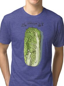 watercolor hand drawn vintage illustration of cabbage Tri-blend T-Shirt