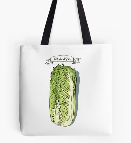 watercolor hand drawn vintage illustration of cabbage Tote Bag