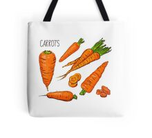Set simple sketch icons carrots isolated on white background. Vegetables. Food. Hand drawn  Tote Bag
