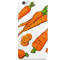 Set simple sketch icons carrots isolated on white background. Vegetables. Food. Hand drawn  iPhone Case/Skin