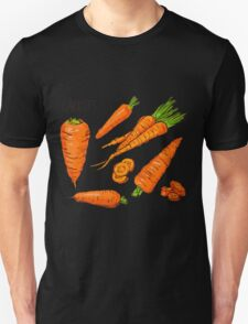Set simple sketch icons carrots isolated on white background. Vegetables. Food. Hand drawn  T-Shirt