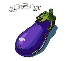watercolor hand drawn vintage illustration of eggplant by OlgaBerlet