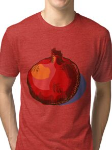watercolor hand drawn vintage illustration of pomergranate Tri-blend T-Shirt