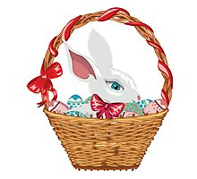 Easter Bunny in Basket Photographic Print