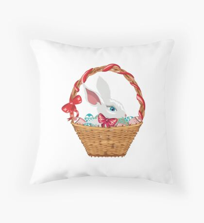 Easter Bunny in Basket Throw Pillow