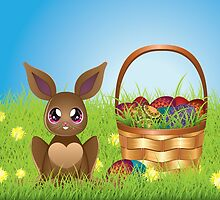 Easter Bunny with Eggs in the Basket by AnnArtshock