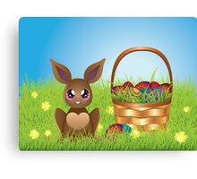 Easter Bunny with Eggs in the Basket Canvas Print
