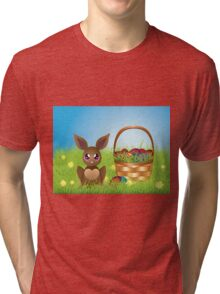 Easter Bunny with Eggs in the Basket Tri-blend T-Shirt
