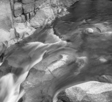 Rocky Mountain Canyon Streaming in Black and White Sticker