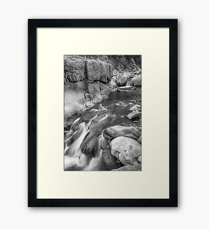 Rocky Mountain Canyon Streaming in Black and White Framed Print