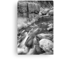 Rocky Mountain Canyon Streaming in Black and White Canvas Print