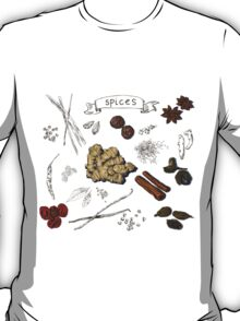 illustration background with hand drawn spices T-Shirt