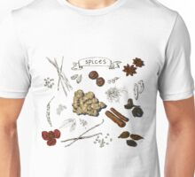illustration background with hand drawn spices Unisex T-Shirt