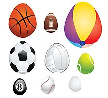 Egg Shaped Sport Balls Photographic Print