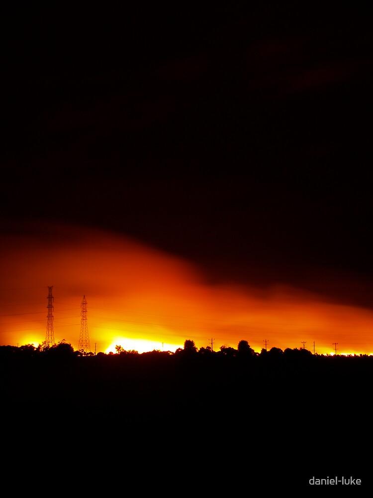 Fire in Night Sky - Melbourne (Portrait) by daniel-luke