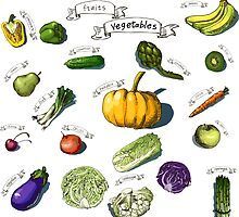 illustration of a set of hand-painted vegetables, fruits by OlgaBerlet