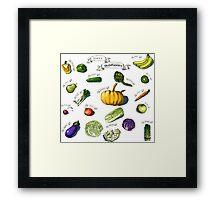 illustration of a set of hand-painted vegetables, fruits Framed Print