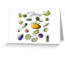 illustration of a set of hand-painted vegetables, fruits Greeting Card
