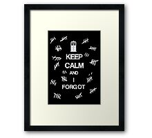 Doctor Who - Keep Calm and I Forgot (The Silence) Framed Print