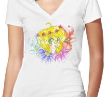 Flower Fun Women's Fitted V-Neck T-Shirt