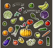 illustration of a set of hand-painted vegetables, fruits Photographic Print