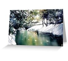 Running water down below in the dark, frozen forest Greeting Card