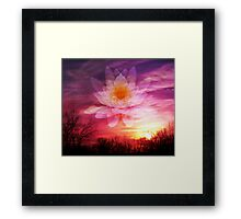 Rising Lotus Setting Sun Framed Print