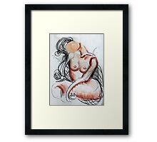 Abstract Charcoal Nude 2 Framed Print