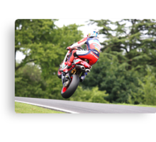 Shane Byrne jumps for the trees, 2008 British superbike championship Canvas Print