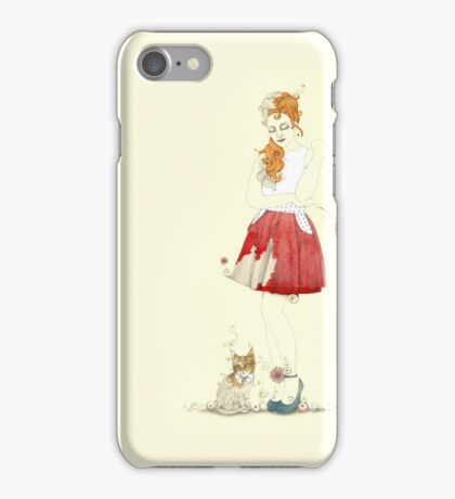 Red dress with kitty cat iPhone Case/Skin