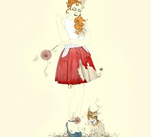 Red dress with kitty cat by Jenny Proudfoot