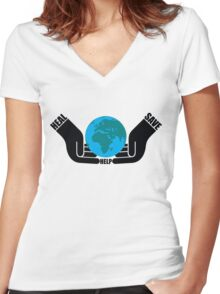HEAL*SAVE*HELP Women's Fitted V-Neck T-Shirt