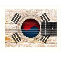 Old Vintage Acoustic Guitar with South Korean Flag Art Print