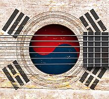 Old Vintage Acoustic Guitar with South Korean Flag by Jeff Bartels