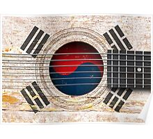 Old Vintage Acoustic Guitar with South Korean Flag Poster