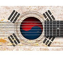 Old Vintage Acoustic Guitar with South Korean Flag Photographic Print