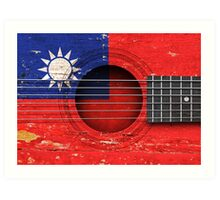 Old Vintage Acoustic Guitar with Taiwanese Flag Art Print