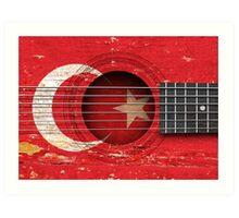 Old Vintage Acoustic Guitar with Turkish Flag Art Print