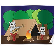 Cats Camping Poster
