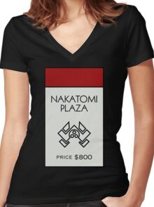 Nakatomi Plaza - Property Card Women's Fitted V-Neck T-Shirt