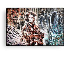 Ripley and the Alien Art Print. Aliens, Sigourney Weaver, Joe Badon, Ridley Scott, James Cameron, Drawing, illustration, sci fi, horror Metal Print