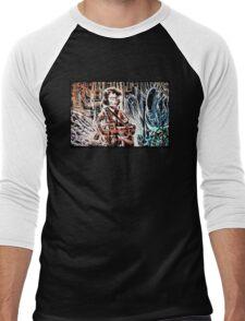 Ripley and the Alien Art Print. Aliens, Sigourney Weaver, Joe Badon, Ridley Scott, James Cameron, Drawing, illustration, sci fi, horror Men's Baseball ¾ T-Shirt