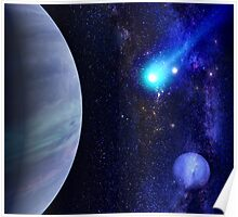 Photorealistic Galaxy background with planet  Poster