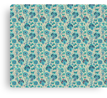 Blue Floral Spring Pattern Canvas Print