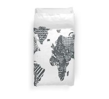 Patterned World Map Duvet Cover